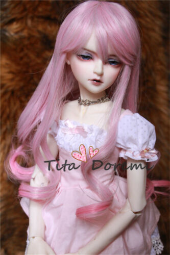 Steiff 1/3 8-9 Bjd Perücke Dal Pullip Blythe SD LÜTS Puppe Spielzeug lange rosa Haare