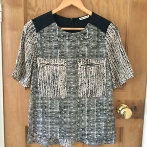 WHISTLES-Black-amp-Cream-patterned-100-Silk-Top-UK-Size-6-in-Excellent-Condition