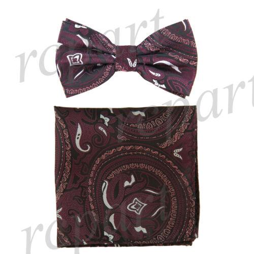 New Men/'s Pre-tied Bow Tie /& hankie set paisley floral burgundy black formal