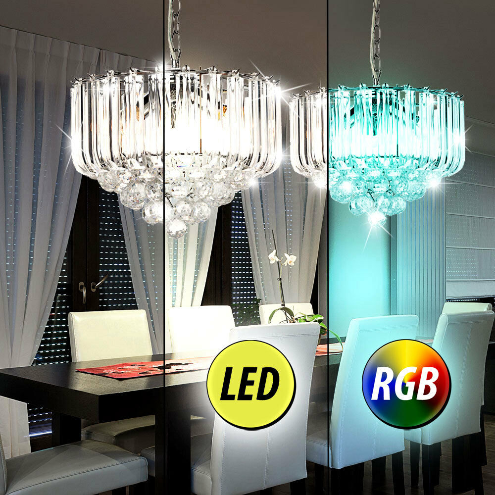 RGB LED Crystal Chandelier Dining Room Dimmer Remote Control Ceiling Lamp chrome