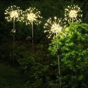 90 Led Starburst Solar Powered Stake Lights Warm White