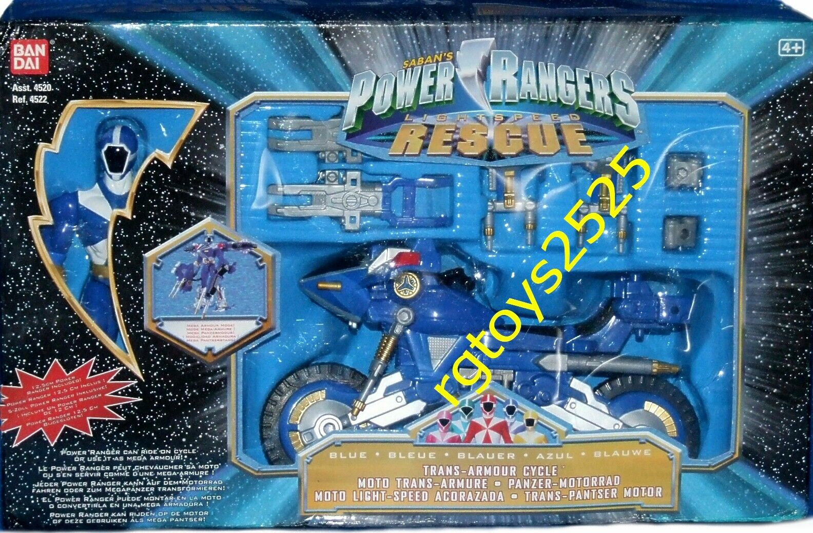 Power Rangers Lightspeed Rescue Trans Armor Cycle 5  Blau Ranger Factory Sealed