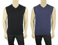 Mens Tasso Elba V Neck Cotton Jersey Knit Plain Sweater Vest L