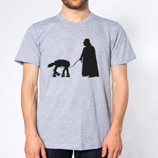 DARTH VADER WALKING AT-AT funny star wars jedi yoda tee MENS T-Shirt GREY DT0010