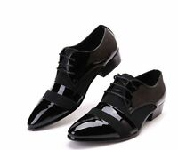 2017 New  men dress formal black patent leather pointed toe lace up shoes Casual