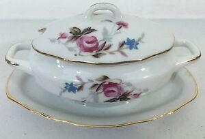 Vintage-Royal-Crown-Derby-11-446-Sugar-Bowl-ROSE-PATTERN-GOLD-TRIM