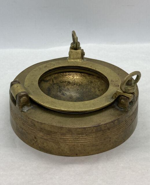 "Vintage Used Maritime Heavy Brass Ashtray Porthole 4.5"" X 2-1/4"" Overall"