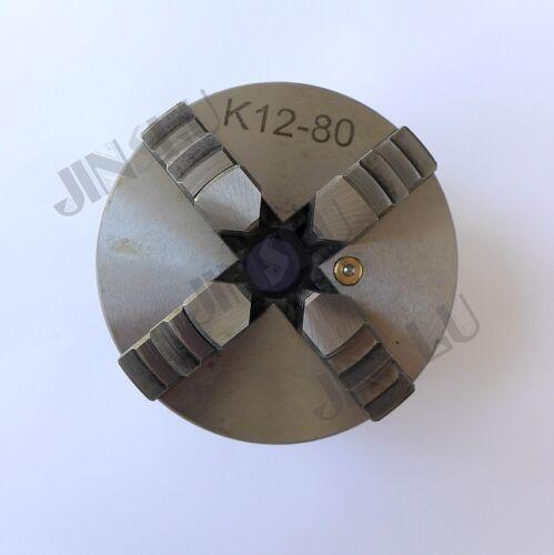 "Sanou Brand 3/"" 4 Jaw Lathe Chuck Cartridge K12-80 80mm Self Centering M6"