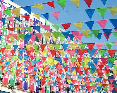 10M Rainbow Happy Birthday Party Banner/Bunting Flags Dessert Table Decoration