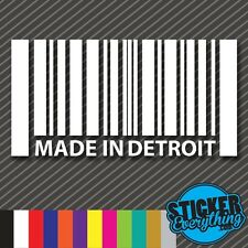 MADE IN DETROIT STICKER VINYL DECAL FLAG USA BARCODE DODGE FORD CHEVY RACING GM
