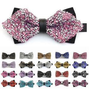 Fashion-Men-039-s-Tie-Glitter-Rhinestone-Bowtie-Sparkle-Tuxedo-Bow-Tie-Adjustable