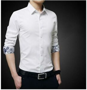 Dress-Shirts-Fashion-Long-Sleeve-Casual-Slim-Fit-Luxury-Stylish-Shirt-Men-039-s-Tops