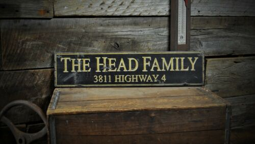 Custom Family /& Address Sign Rustic Hand Made Vintage Wooden Sign ENS1000459