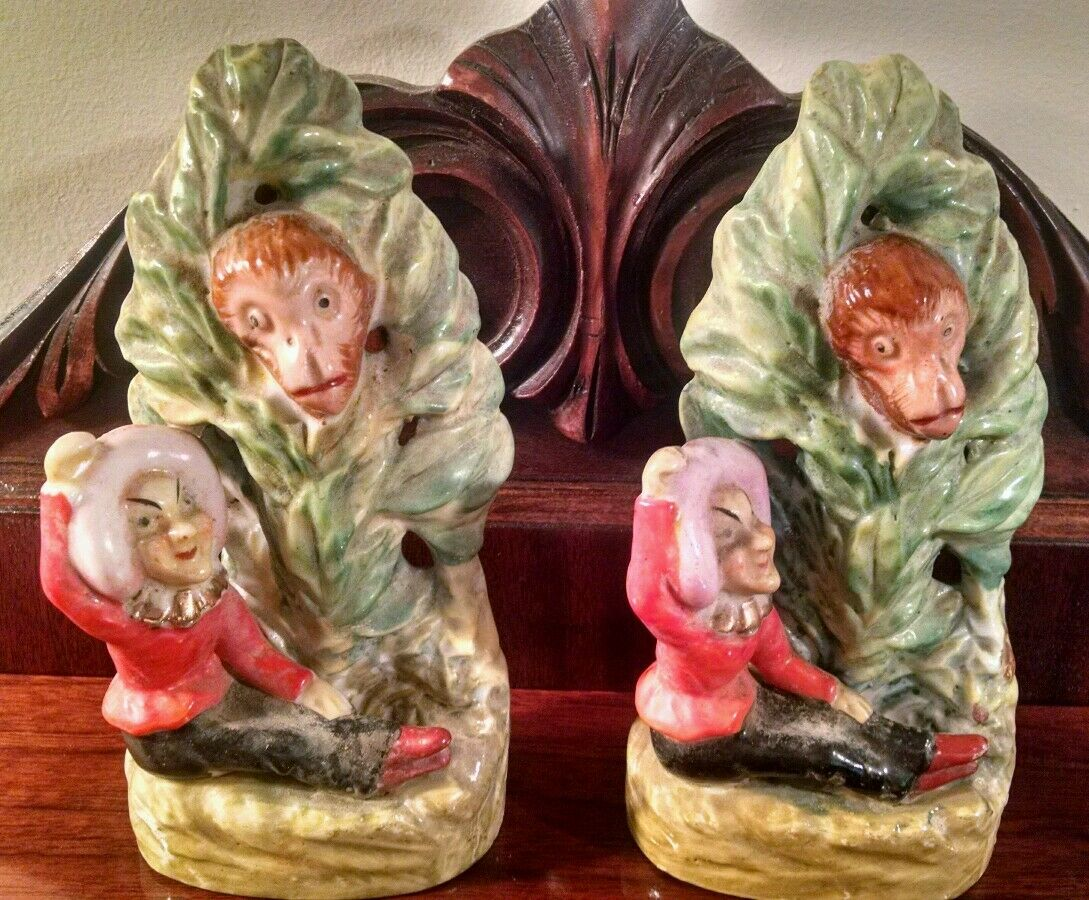 Japanese Palissy Majolica Monkey Spies on a Lady Figural Art Pottery Book Ends