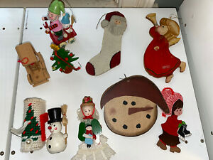 Vintage wooden ornaments, lot of 10- Some Hand Painted- 1 Needlepoint