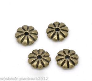 100-Bronzefarben-Blume-Spacer-Perlen-Beads-7x2mm