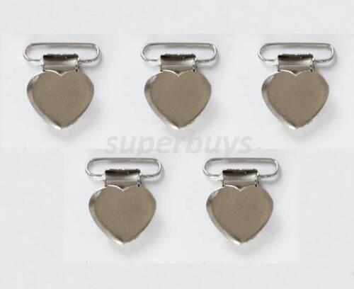 1 5 20 50 Lead Free Heart Shape Suspender Bib Pacifier Dummy Clip Buckle Ribbon