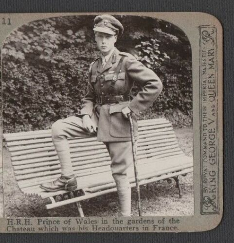 WW1 H.R.H. PRINCE OF WALES AT HIS HEADQUARTERS ORIGINAL VINTAGE STEREOVIEW