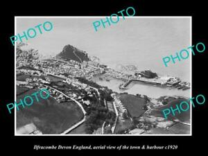OLD-LARGE-HISTORIC-PHOTO-OF-ILFRACOMBE-DEVON-ENGLAND-THE-TOWN-amp-HARBOUR-c1920