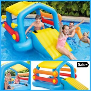 Details about Inflatable Swimming Pools Island Playground Slide for Kids  Floater Toy House New