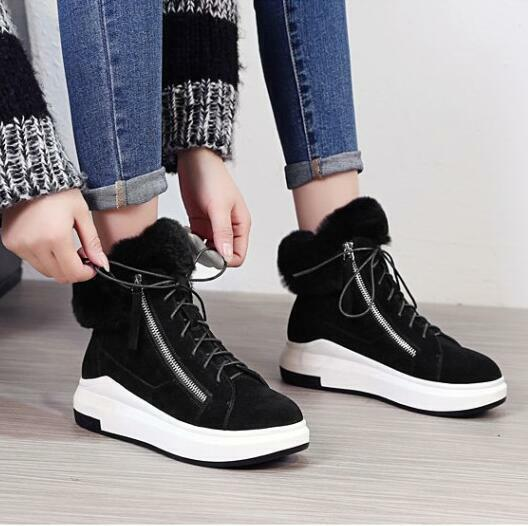New Women Round Toe Lace up Warm Fur Lining Wedge  Heels Ankle Boots Athletic sz