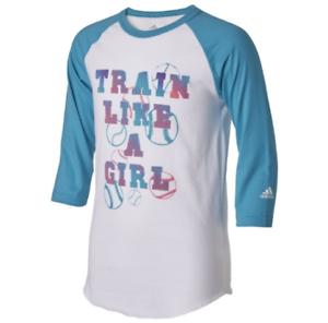 NWT-adidas-Girls-039-Train-Like-a-Girl-Destiny-Sleeve-Shirt-Teal-Blue-raglan