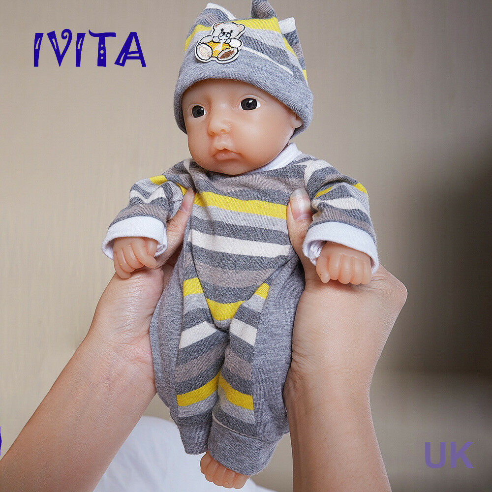 Ivita 11  realistico RINATO BABY BOY bambola REALE CAPELLI dipinto FULL BODY SILICONE
