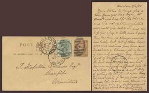 NATAL to MAURITIUS QV 1899 STATIONERY CARD VFU NUMERAL 2 UPRATED + MESSAGE
