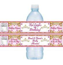 12 Princess Crown Tiara Birthday Party Baby Shower Water Bottle