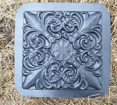 "1/8th"" abs plastic fleur de lis stepping stone mold mould 12"" x 12"" x 1.25"""