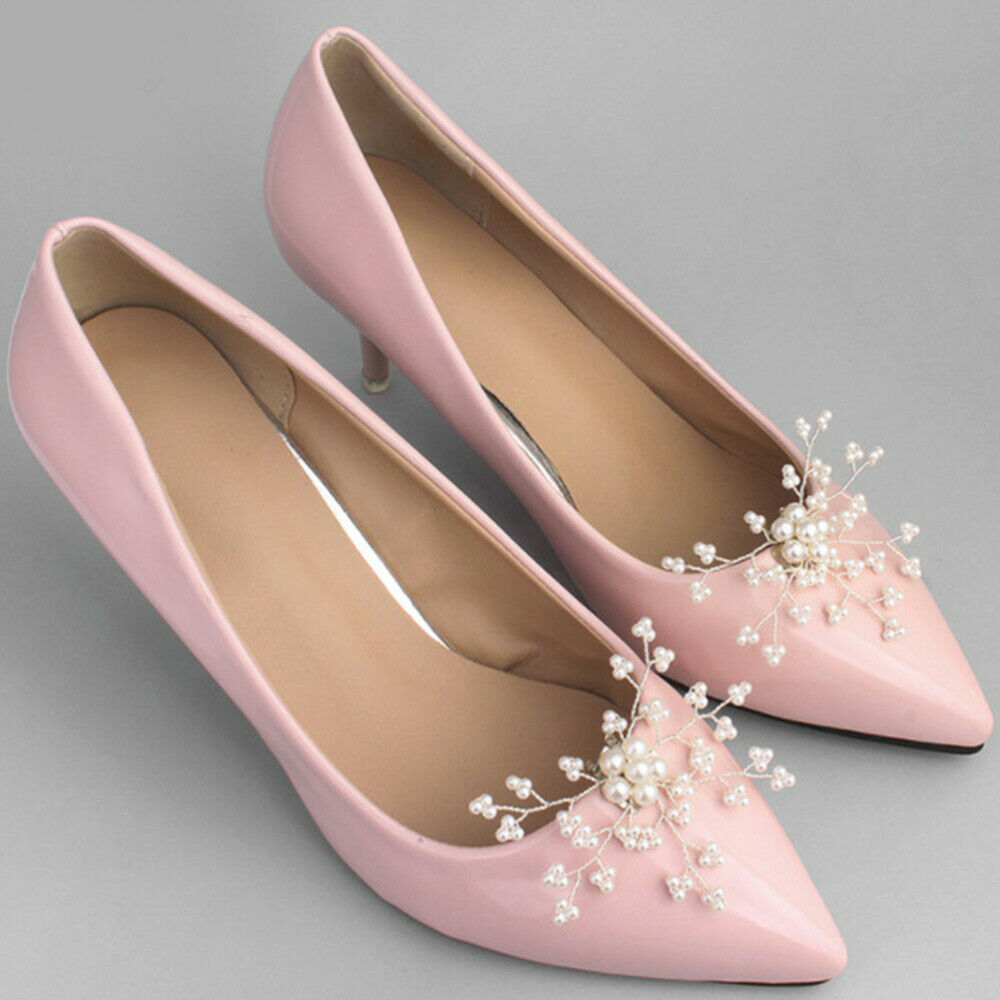 1 Pair Shoe Buckles Alloy White DIY Pearl Fashion Shoe Clips for Wedding Women
