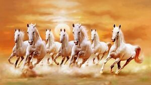 Asmi Collections Seven Running White Horses  Canvas Painting - FRAMELESS