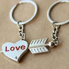 1Pair Couple Keychain Key Rings Love Heart Arrow Key Ring Valentine's Day Gifts