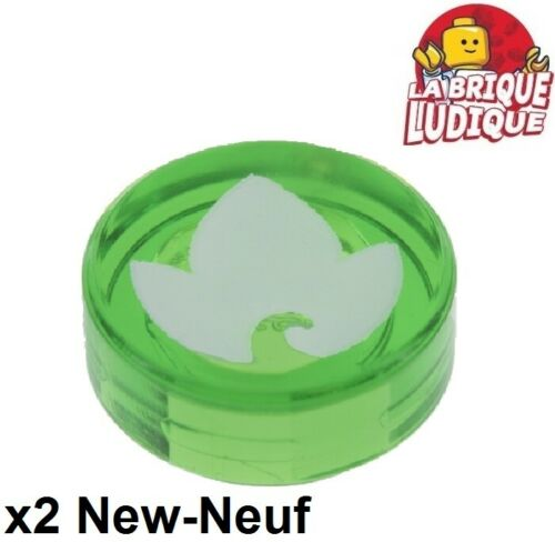 Lego 2x Tile round decorated 1x1 Elves earth power feuille vert 98138pb030 NEUF