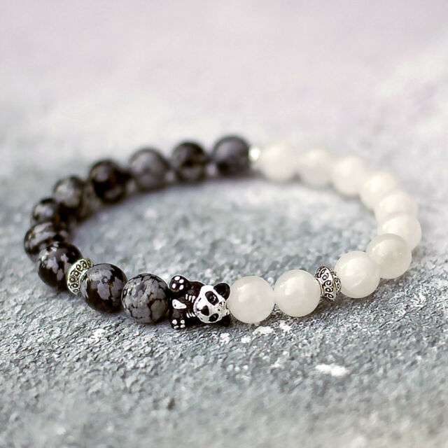 Panda Bracelet With Natural White Snow Jade Obsidian Stone Beads