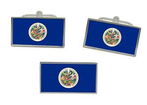 Erfinderisch Oas-organization-of-american-states Flagge Manschettenknopf Und Nadel Set Moderater Preis