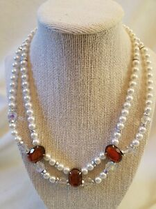Faux pearl AB crystal Faux amber Costume jewelry chunky pinup earth tones 1950/'s amber foil double strand necklace Multistrand necklace