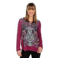 - One World Sweater Knit Mixed Media Long Sleeved Embellished Top - Sz S