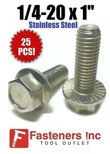 """1//4/""""-20 x 3//4/"""" Stainless Steel Hex Cap Serrated Flange Bolt FT UNC Qty 25"""