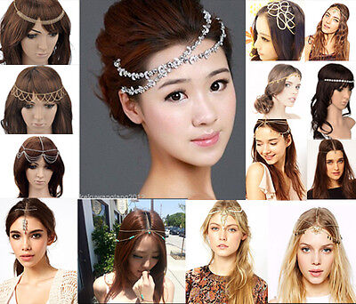 Lady's Head Chain Crystal Rhinestone Jewelry Headband Head Piece Hair Band BOHO