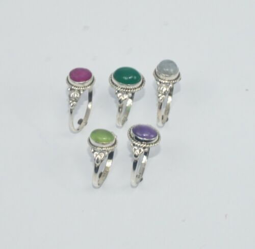 WHOLESALE 5PC 925 SOLID STERLING SILVER CUT RUBY AND MIX STONE RING LOT KP268
