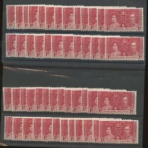 FALKLAND-ISLANDS-1937-UNMOUNTED-MINT-50-stamps-KG6-CORONATION-1d-SG144-Lot-5
