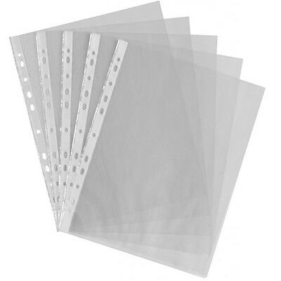 A4 Clear Plastic Punched Pouch Pockets Folders Filing Wallets 50 100 200 500