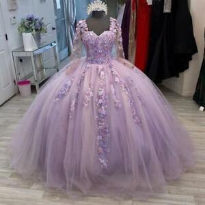 Light Purple Quinceanera Dress Sweetheart Applique Long Sleeves Sweet 16 Dress
