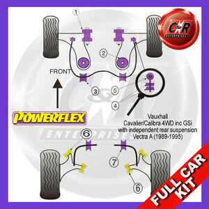 Vauxhall Calibra 4WD 89-95 Not Rear Geometry Adjustable Powerflex Full Bush Kit