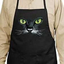 Black Cat Green Eyes New Apron Grill Cook Bar Parties Events Gifts