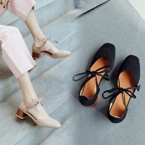 4e76595ff23c Details about Women s Ankle Strap Chunky Heel Sandals Square Toe Lace Up  Suede Casual Shoes