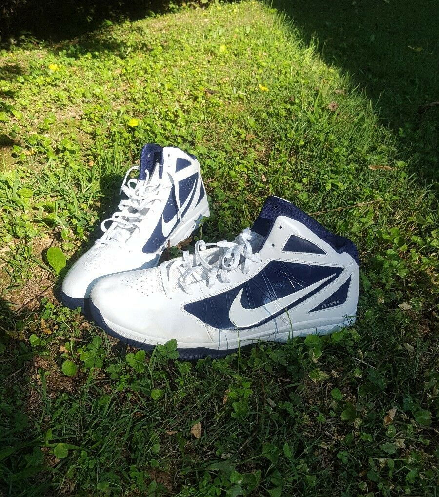 NIKE Mens sz 20 FLY WIRE Shoes White/navy NWOT 454140-164
