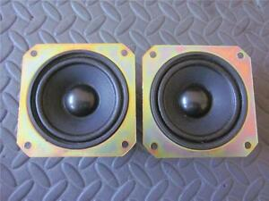 NEW-2-3-5-034-Woofer-Speakers-FullRange-3-1-2-034-Square-Frame-8-ohm-PAIR-Home-Audio