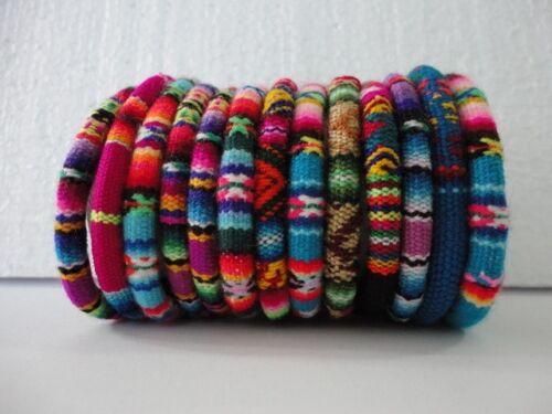 3 Peruvian Bracelets Peruvian Manta Wristbands Fabric Handmade Ethnic Art Peru